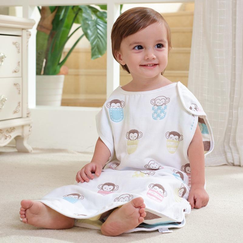 DENGJIAGUAI Túi ngủ trẻ em Bông gạc ba hoặc sáu lớp túi ngủ trẻ sơ sinh trẻ sơ sinh 3 lớp 6 lớp chốn