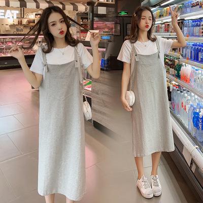 Trang phục bầu Áo bà bầu mùa hè 2019 mới cho mẹ bầu dài bà bầu thời trang váy mùa hè váy hai dây phù