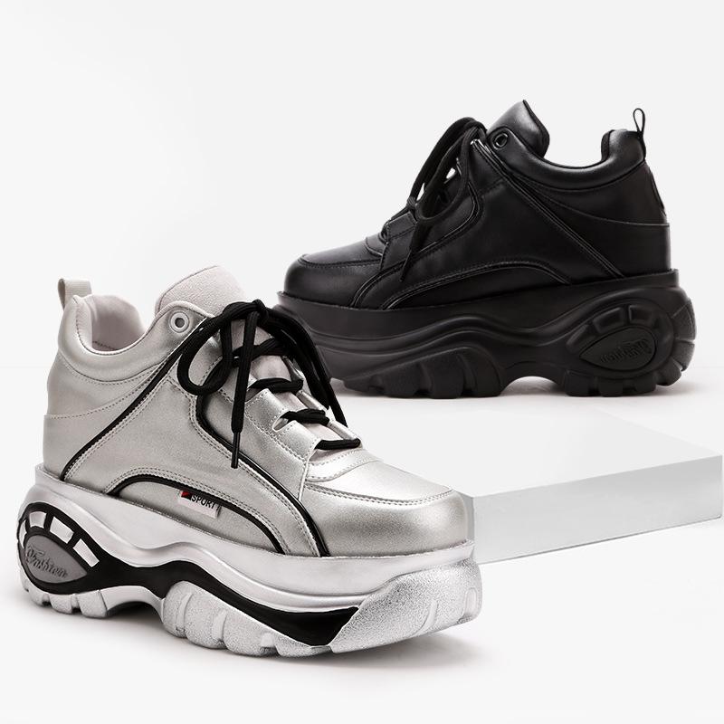 WOOS BOBO Giày bánh mì Giày thể thao mùa xuân mới Giày đế bệt đế mềm đế dày thấp để tăng chiều cao c