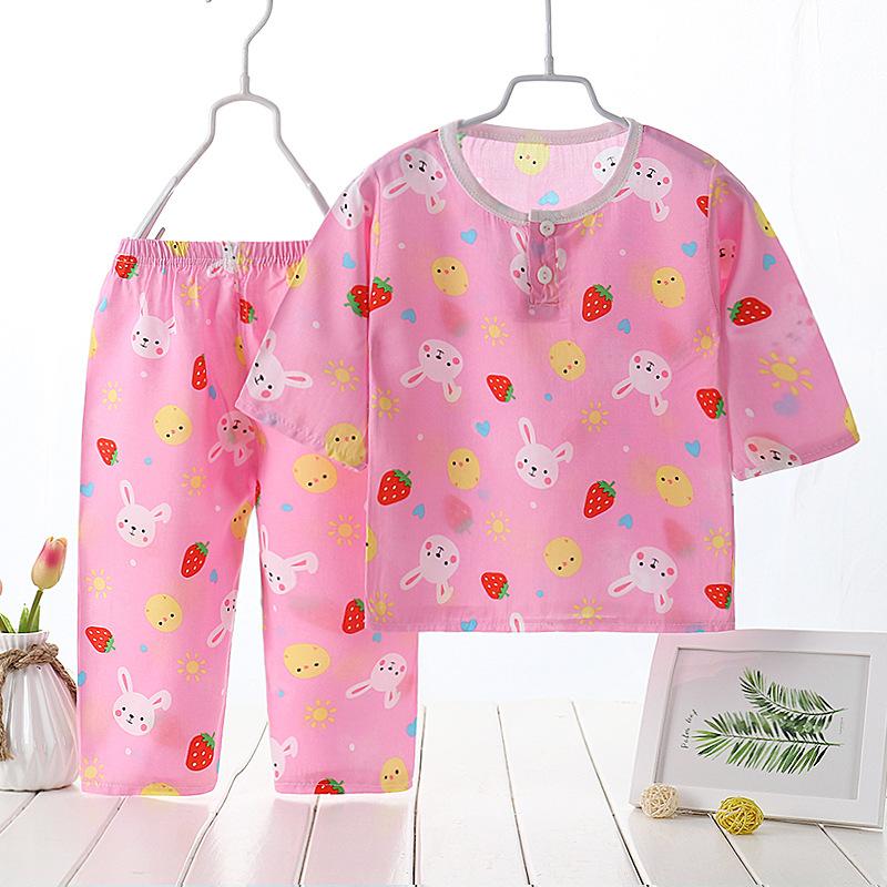 KQBB Đồ ngủ trẻ em Mùa hè mới 2019 trẻ em cotton lụa phù hợp với nam và nữ quần áo trẻ em dịch vụ tạ