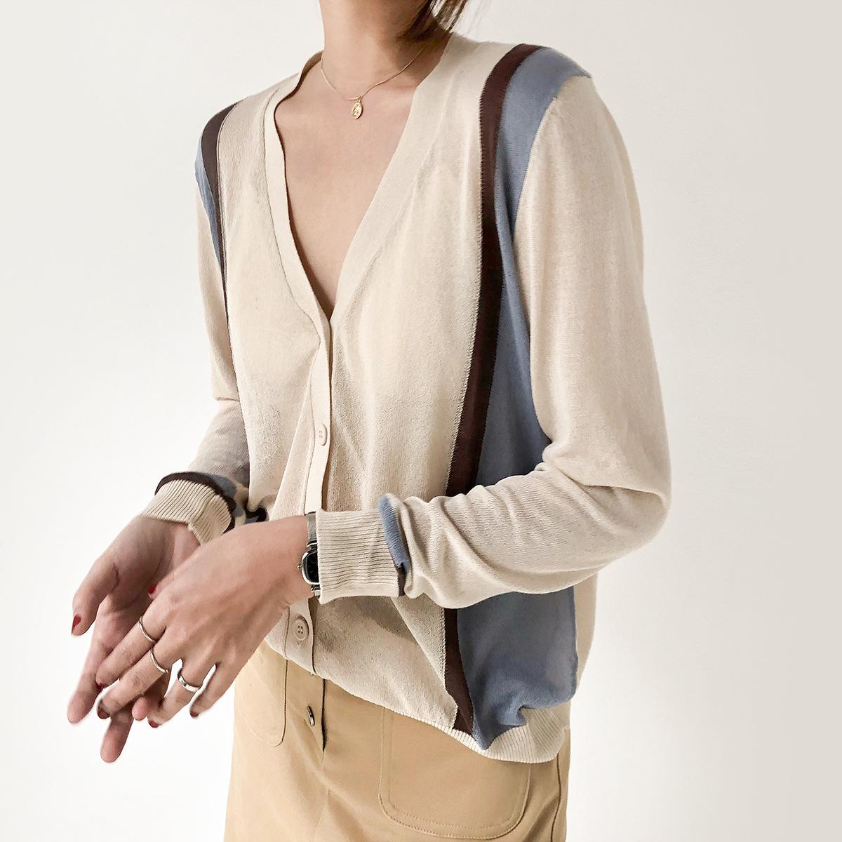 Memzas Áo khoác Cardigan Áo len dệt kim nữ dài tay 2019 xuân hè mới V-cổ rỗng phần mỏng phù hợp với