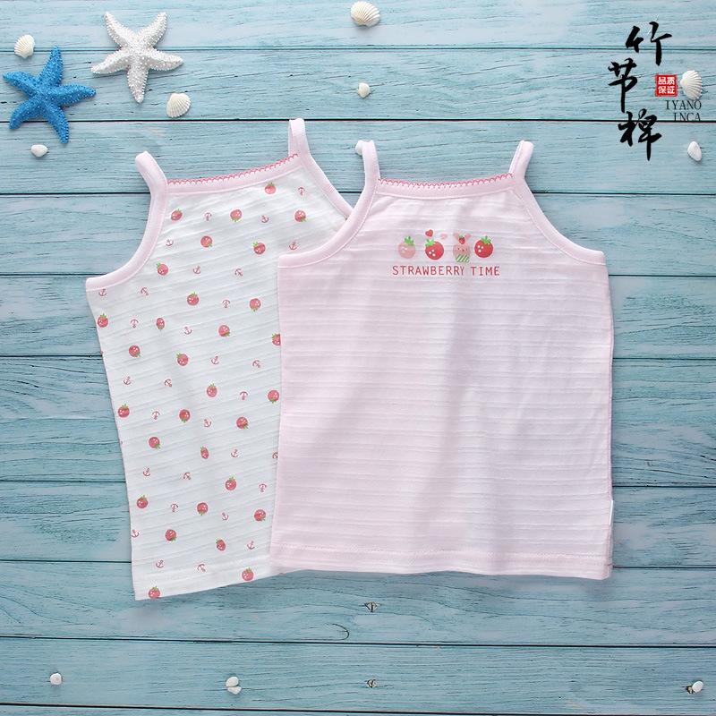 IYANOINCA Áo ba lỗ / Áo hai dây trẻ em Màu mới cotton nữ trẻ em vest mùa hè mỏng phần bé tre bông bé