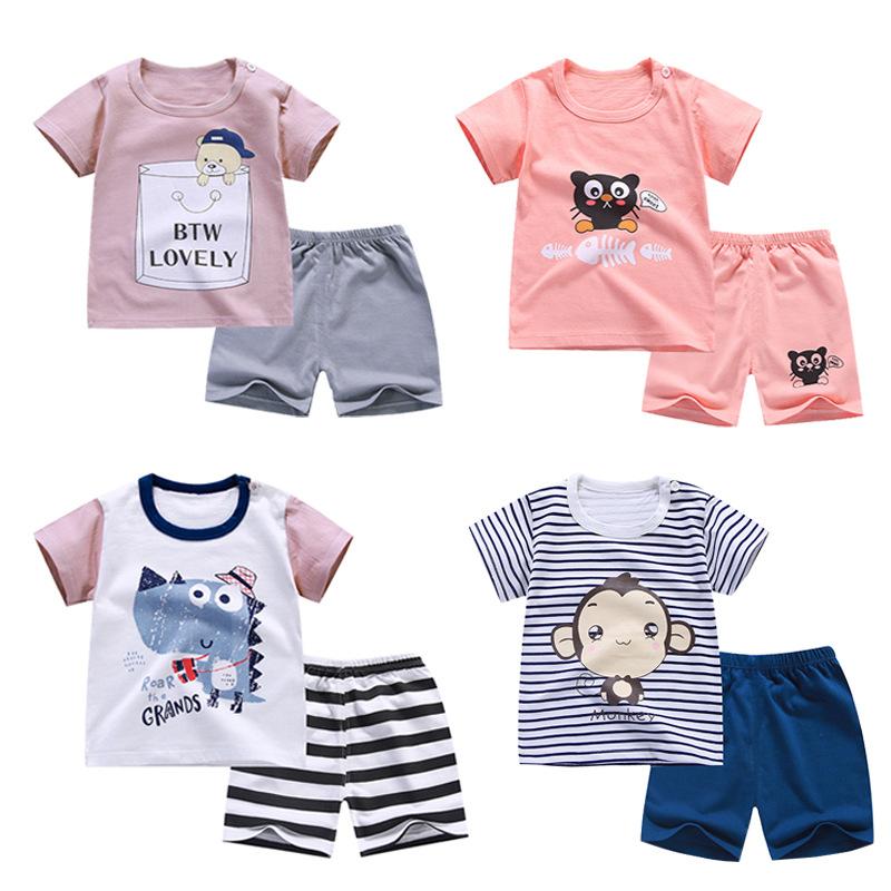 ZHAOHE Thị trường trang phục trẻ em Quần short trẻ em mùa hè ngắn tay thiết lập áo thun cotton nam v