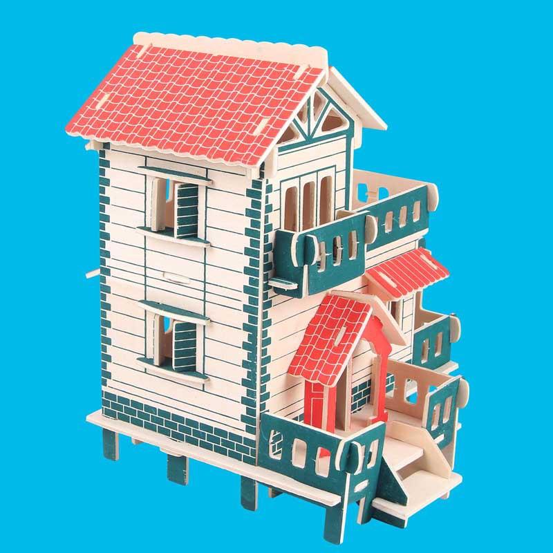 TENGZHI Tranh xếp hình 3D Mới sáng tạo tự làm thủ công trẻ em 3d câu đố ba chiều khối gỗ lắp ráp đồ