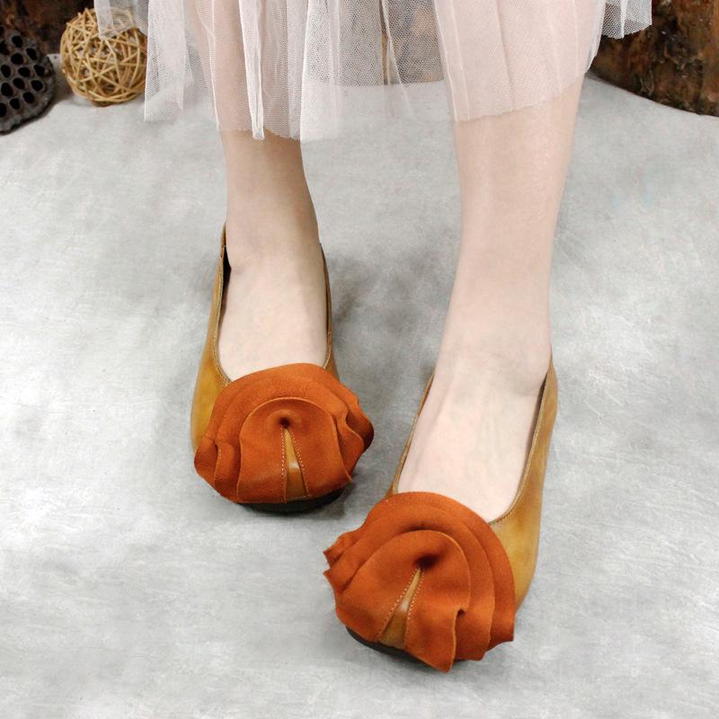 Beautiful way giày bệt nữ Các mẫu được đề xuất 2019 xuân mới retro handmade nông miệng đơn giày nữ p