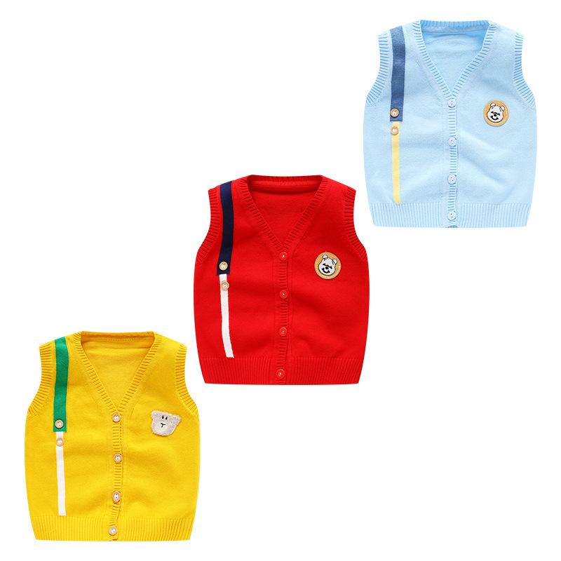 Áo dệt kim trẻ em Quần áo trẻ em mùa xuân và mùa thu sản phẩm mới em bé dễ thương khóa vai áo len tr