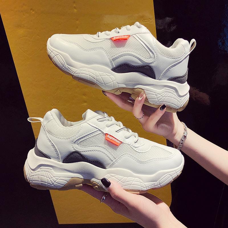 MAILEMIAO Giày tăng chiều cao Giày nữ cũ 2019 xuân mới phong cách mới hút thuốc giày đế dày tăng sin