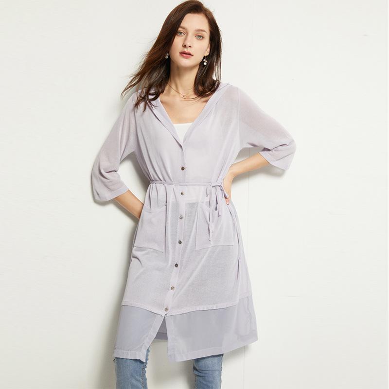 FDQF Áo khoác Cardigan Áo len nữ mùa hè mới áo len mỏng tay áo 5 điểm dài nữ chất lượng Quần áo chốn