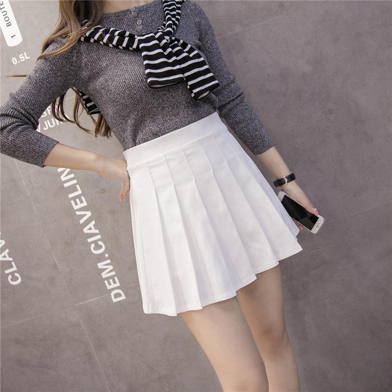 Váy váy ngắn mùa hè nhỏ tươi đại học phong cách bạn gái mới váy eo cao xếp li váy nữ sinh viên Hàn Q