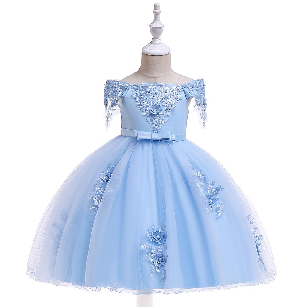 Trang phục dạ hôi trẻ em Cô gái châu Âu và Mỹ ăn mặc trẻ em váy váy cậu bé lớn từ vai đính cườm mịn