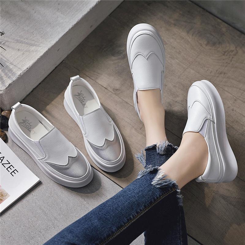SOLEY Giày Loafer / giày lười Giày Lok Fu Giày trắng dày Giày nữ giản dị Giày lười Giày đơn mùa thu