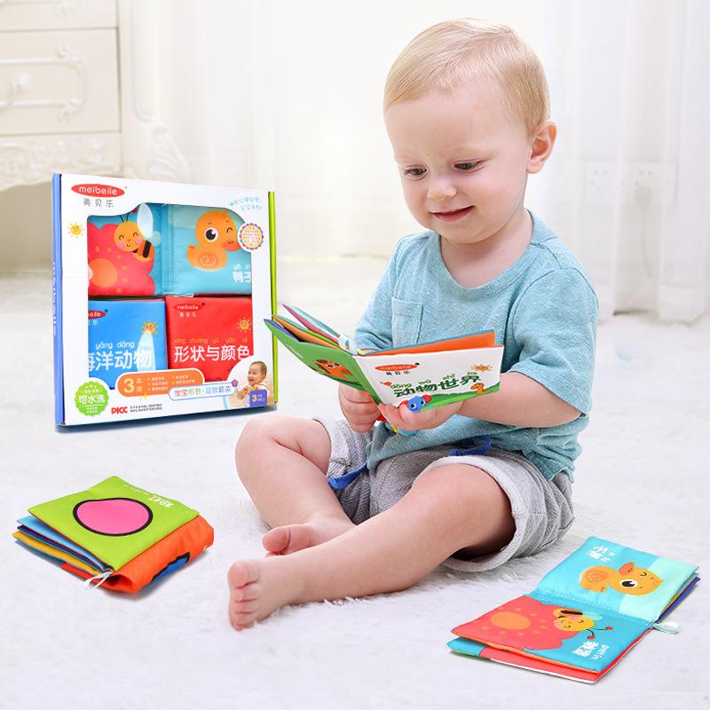 YUANLEBAO Đồ dùng dạy trẻ sơ sinh cho bé sách vải ba cuốn sáĐồ giảng dạy trẻ sơ sinh ch giáo dục sớm