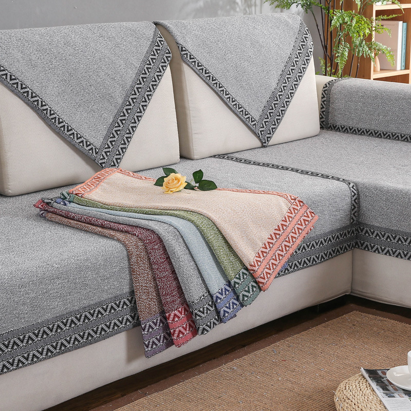 LIELV Đệm massage Bốn mùa vải bông và vải lanh đệm đơn giản màu vải rắn chống trượt khăn bông dệt vả