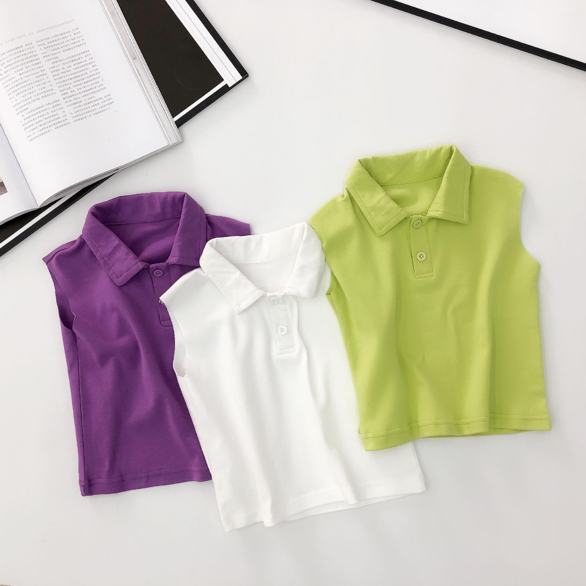 RYBB Phong cách Hàn Quốc Anan cho bé quần áo mùa hè bé trai vest ve áo hoang dã 1-3-5 tuổi bé áo pol