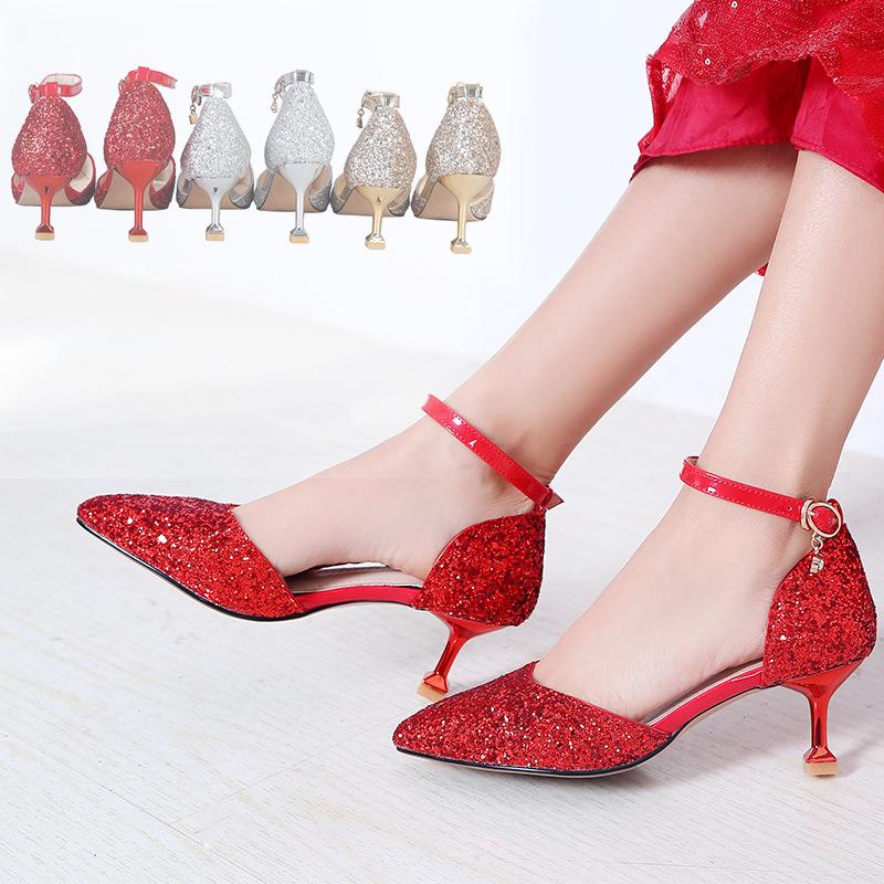 Giày cô dâu Giày cưới nữ 2018 mới Giày cưới Giày cưới phong cách Trung Quốc cho thấy giày mèo và già