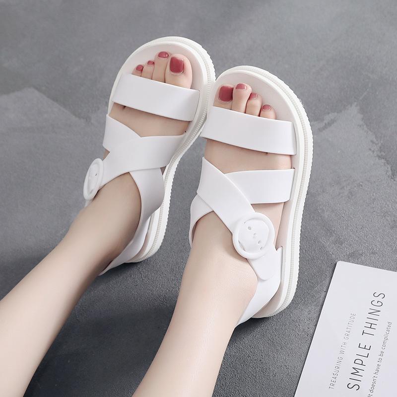 giày bệt nữ Dép nhựa đế bằng nữ mùa hè dày đáy chống trượt không thấm nước hoang dã sinh viên Hàn Qu