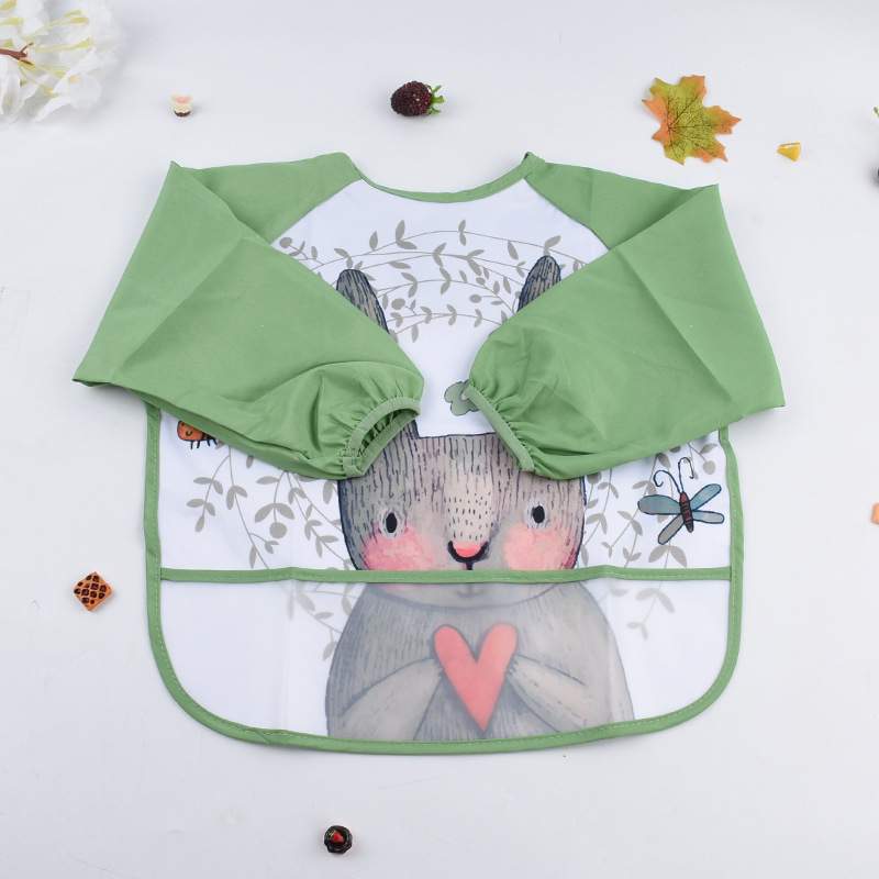 Áo khoác Phim hoạt hình PVC trẻ em không thấm nước smocks mùa xuân và mùa hè bé ăn tranh trẻ em áo d