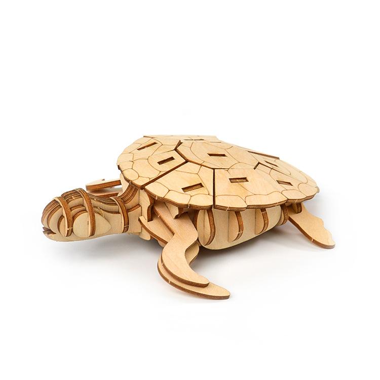 Tranh xếp hình 3D Đồ chơi bằng gỗ, giáo dục cho trẻ em lắp ráp 3D câu đố ba chiều rùa động vật DIY á