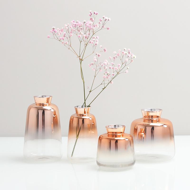 SHIYUAN Bình bông Bắc Âu phong cách đơn giản tăng vàng gradient thủy tinh bình hoa khô sắp xếp hoa b