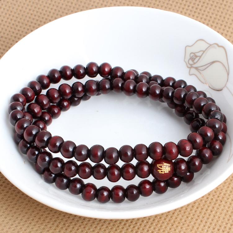 Chuỗi phật Vòng tay hạt gỗ đàn hương 108 hạt Mân côi nam nữ trang sức thời trang Gỗ thủ công hạt