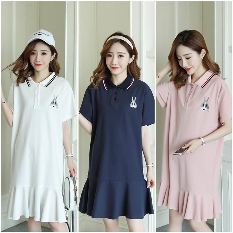 HYBHT Trang phục bầu Mùa hè 2019 phiên bản Hàn Quốc mới của áo polo ruffle đuôi cá đầm xòe thêu động