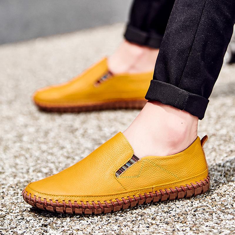 CHANLANG Giày mọi đế thấp Giày da bò 1 lớp Giày da nam kinh doanh thông thường Giày thoáng khí hướng