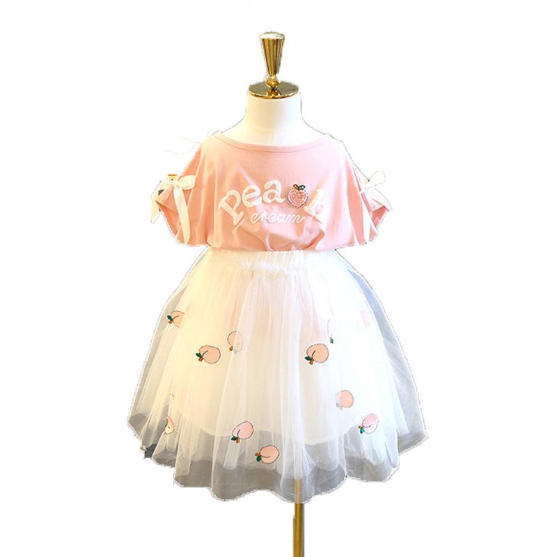 TONGWENHUA Đầm váy trẻ em Bộ đồ cho bé gái mùa hè 2019 Mới dành cho trẻ em Hàn Quốc Áo thun ngắn tay