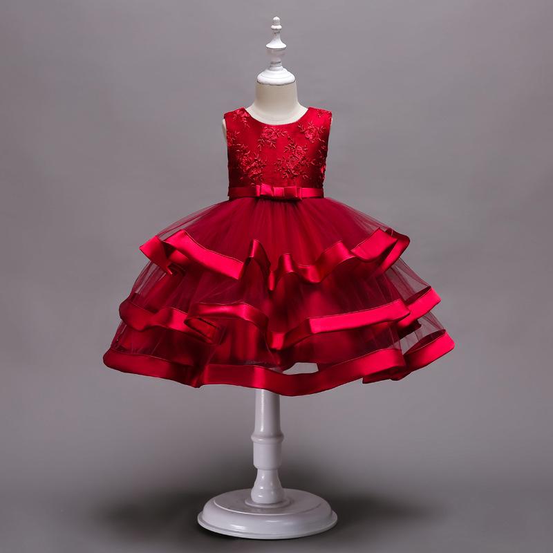 CARISA Trang phục dạ hôi trẻ em Váy hoa châu Âu và váy cô gái nhiều lớp pettiskirt thêu show váy váy