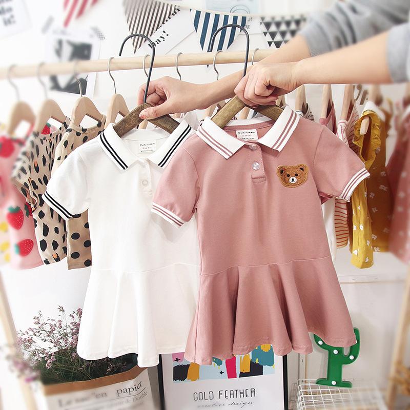 Đầm váy trẻ em Váy bé gái mùa hè 2019 giản dị mới cho bé công chúa đầm ve áo ngắn tay bé váy ngoại g