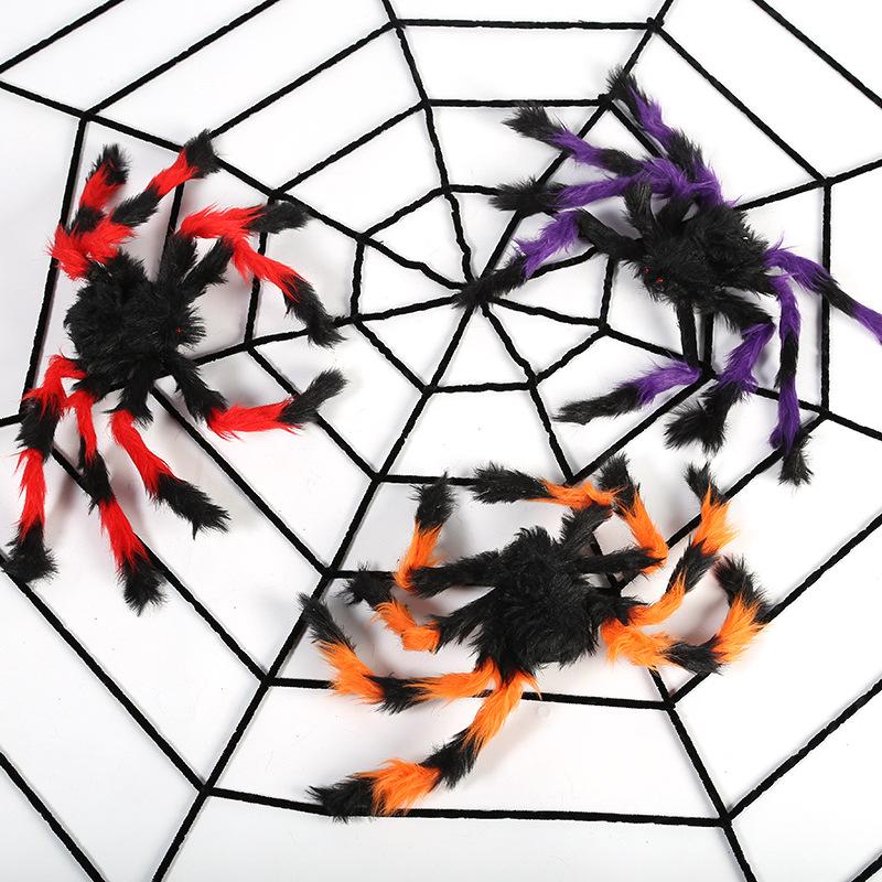 YOUSHUO Đồ chơi khăm Halloween đạo cụ nhện mạng nhện sang trọng bông nhện Nhện ma ám trang trí nhà m