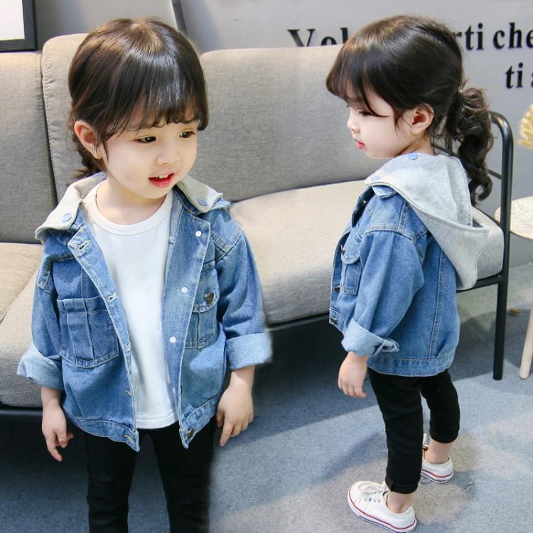 FYSN Trang phục Jean trẻ em Quần áo trẻ em Hàn Quốc mới 2018 mùa xuân và mùa thu cô gái trùm đầu áo