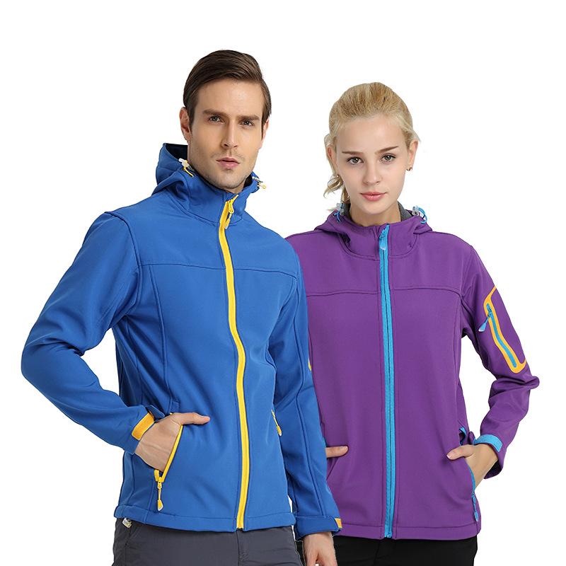Quần áo leo núi Mùa thu và mùa đông cặp đôi ngoài trời mềm vỏ quần áo nam và nữ không thấm nước thoá