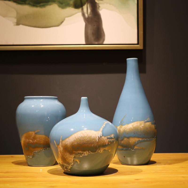 RUICHEN Bình hoa gốm sứ ba mảnh sáng tạo Khách sạn câu lạc bộ trang trí mềm mại Dezhen hàng thủ công