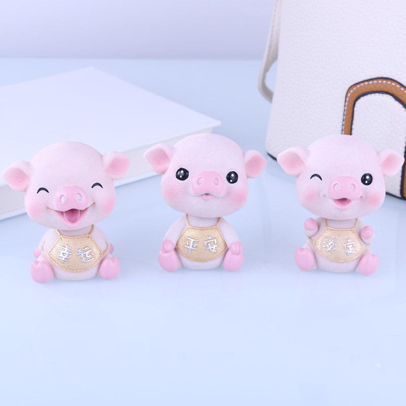 RUIJIE Đồ trang trí bằng cao su Heo nổ năm lợn kho báu xe trang trí dễ thương nhựa lắc đầu lợn sáng