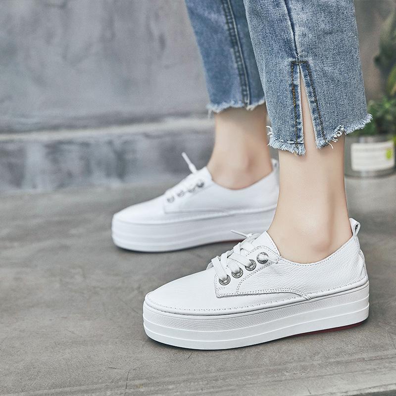 XUEYAFEI Giày bánh mì Mùa xuân 2019 mới đôi giày đế bệt trắng đế giày nữ tăng giày đơn Phiên bản Hàn
