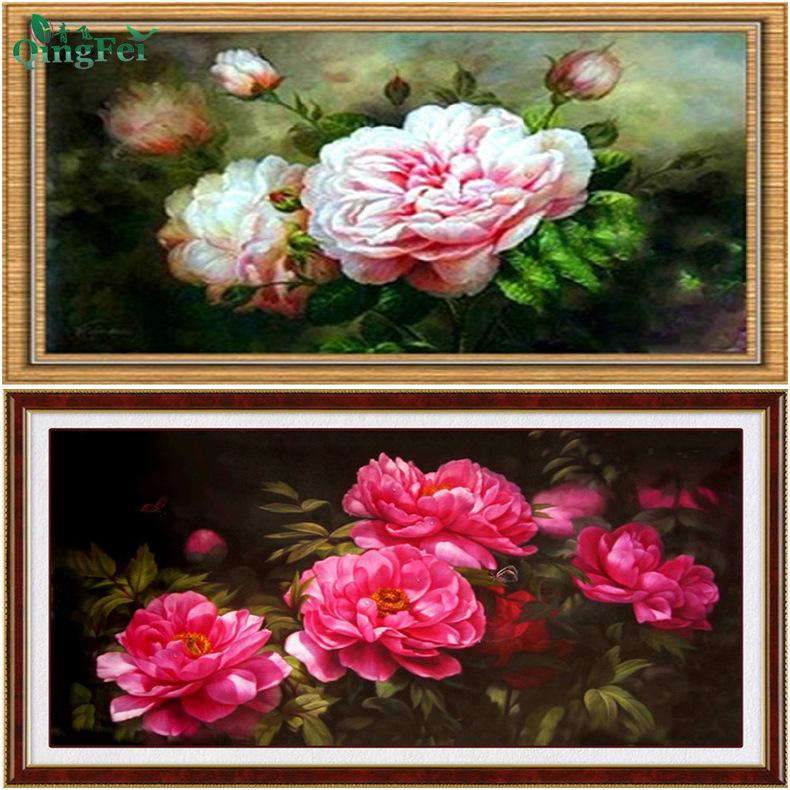 QINGFEI Tranh thêu chữ thập Qingfei 5D phượng hoa mẫu đơn chéo tranh sơn dầu hoa mẫu đơn giàu hoa mẫ