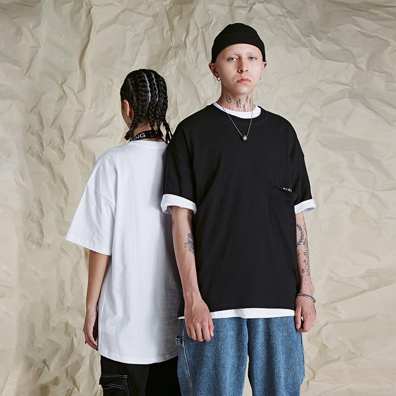 OVDY hàng trào lưu mới #OVDY Một nửa tay áo oversize Tide Thương hiệu Ins Áo thun nam tay ngắn Kiểu