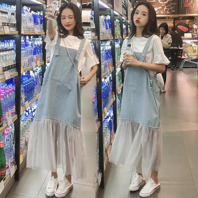 Trang phục bầu Bà bầu mùa hè 2019 mới thả lỏng thời trang denim quai váy mùa hè dài phần hai mảnh ph