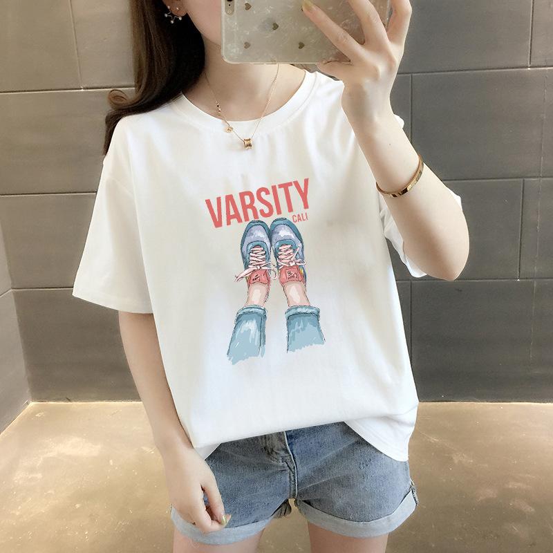 Thời trang nữ Mùa hè 2019 mới áo thun size lớn cho nữ tay ngắn Phiên bản Hàn Quốc của áo cổ tròn rộn