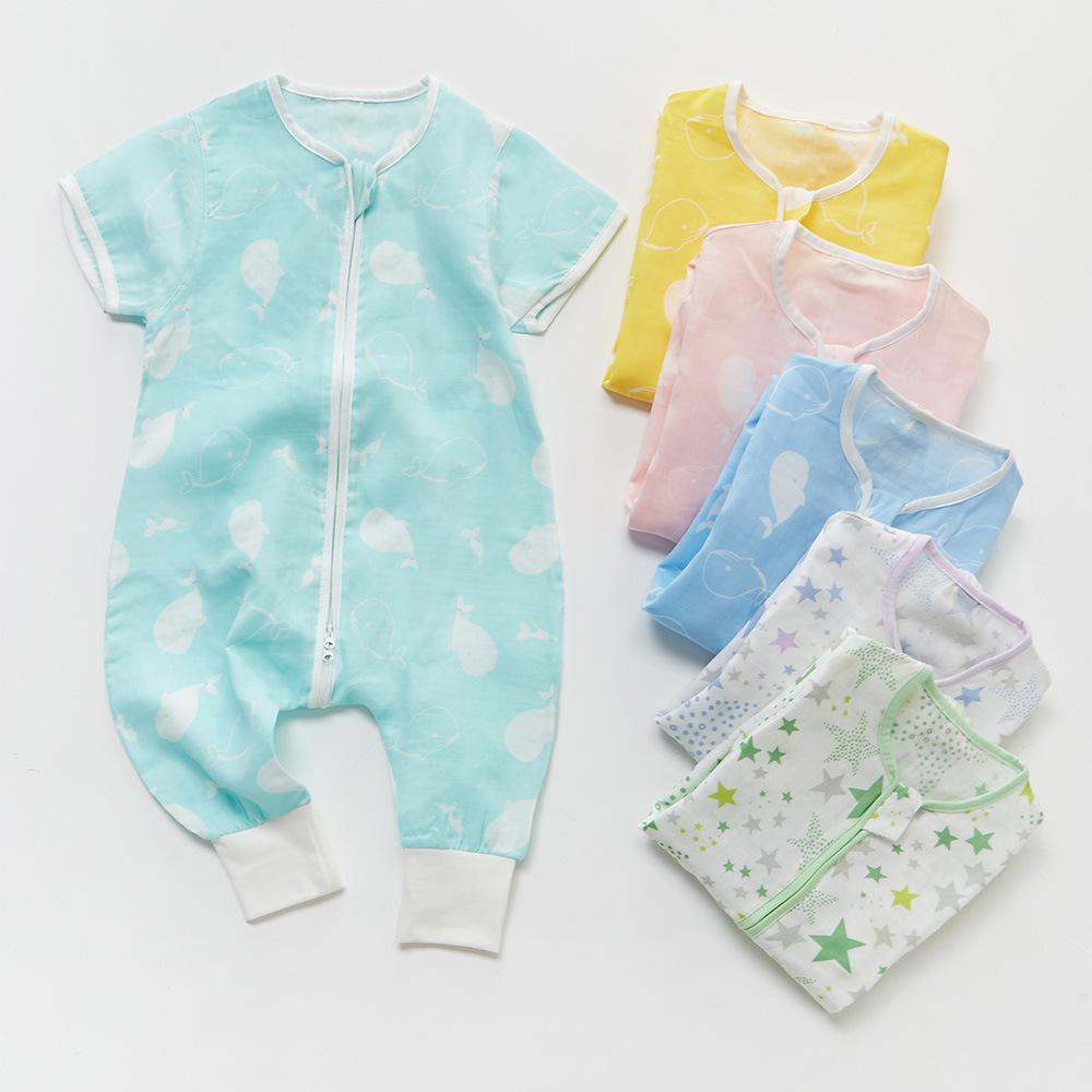 PANPAN TREE Túi ngủ trẻ em 2019 mới cho bé quần áo mùa hè cho bé quần áo cotton ngắn tay tại nhà dịc