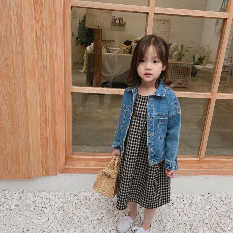 Trang phục Jean trẻ em Mùa xuân 2019 mới giặt áo khoác denim bé trai và bé gái Phiên bản Hàn Quốc củ