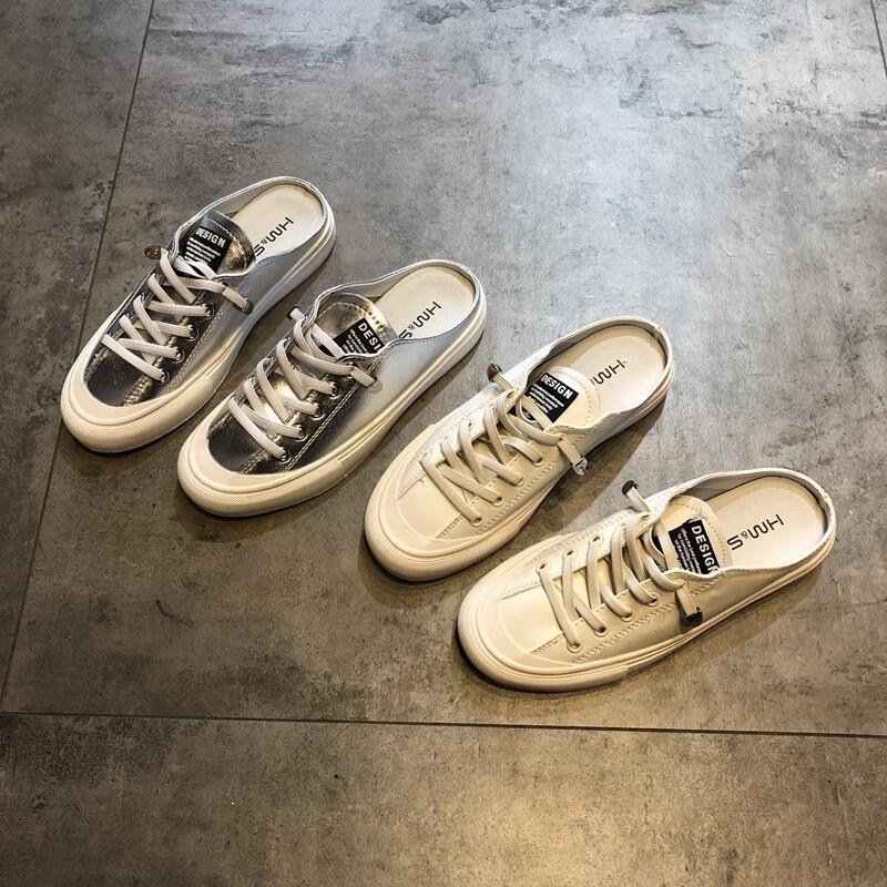 MAIERMIAO Giày FuJian Giày nữ 2019 mới giản dị đế bằng nửa dép lê không gót gót baotou hoang dã dép