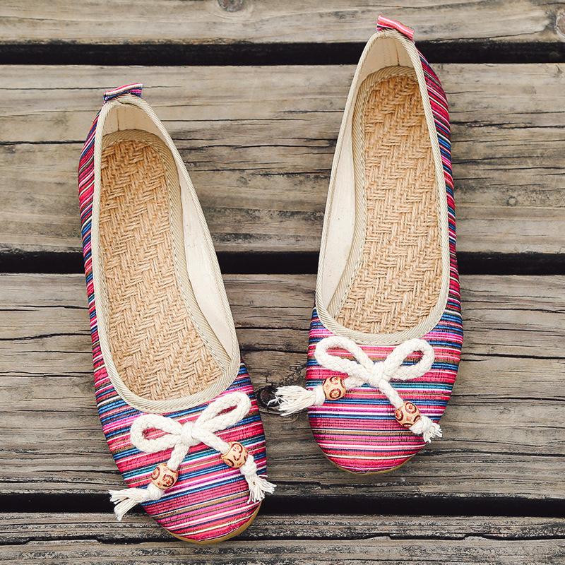 KLHX giày bệt nữ Thiết kế nguyên bản 2019 xuân mới nơ vuông dày đầu với giày đơn đế giày đế bằng cỡ
