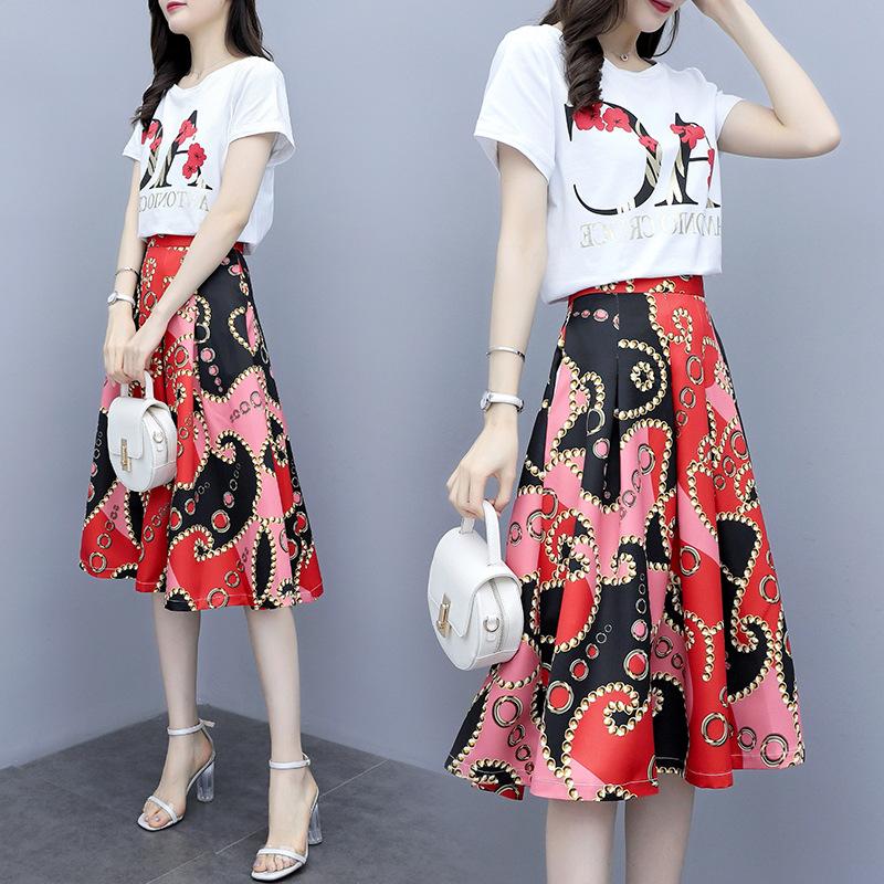 Đồ Suits Mùa hè 2019 mới Pháp retro nữ hai mảnh váy Tây in họa tiết eo thon phù hợp với váy nữ