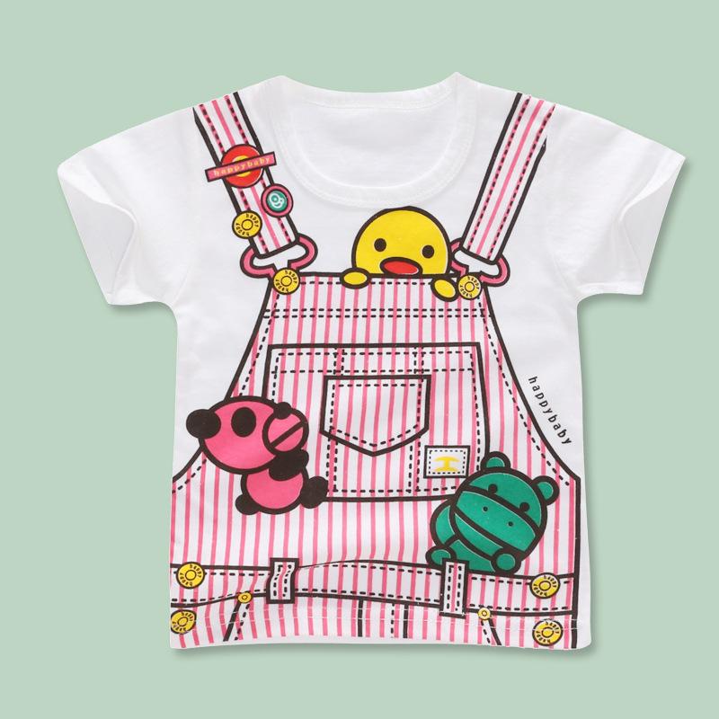 MENGHUANWA Áo thun trẻ em Áo phông trẻ em mới bé gái nhỏ tay ngắn học sinh cotton từ bi Phim hoạt hì