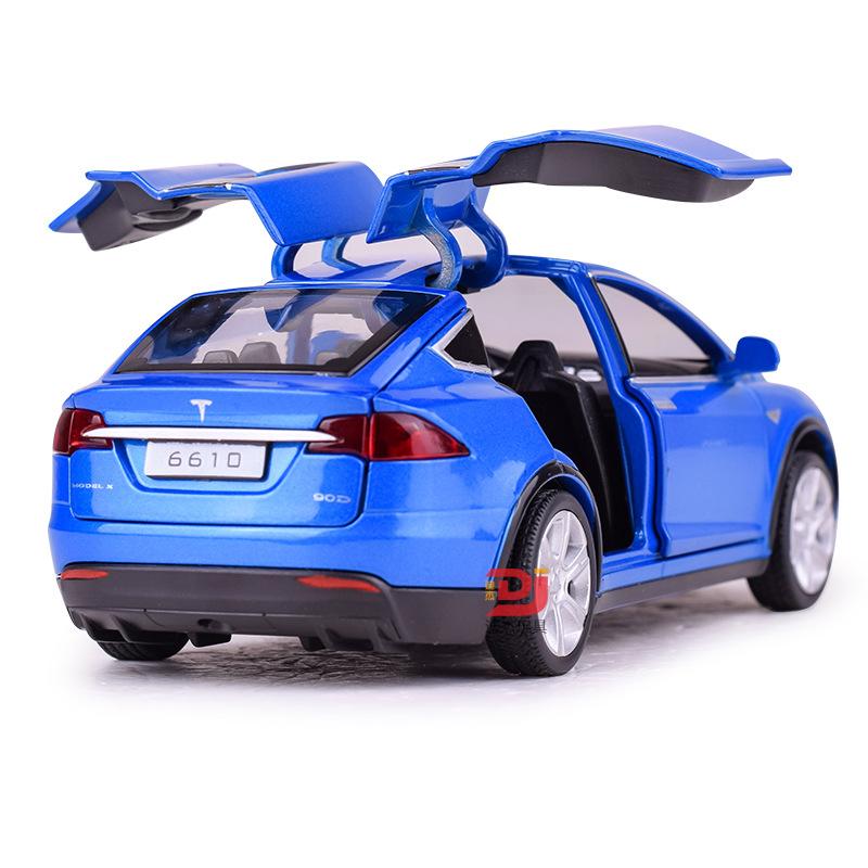 BAOSILUN Mô hình xe Bao Silan Mô phỏng Tesla MODELX90 mô hình xe hợp kim Trẻ em âm thanh và ánh sáng