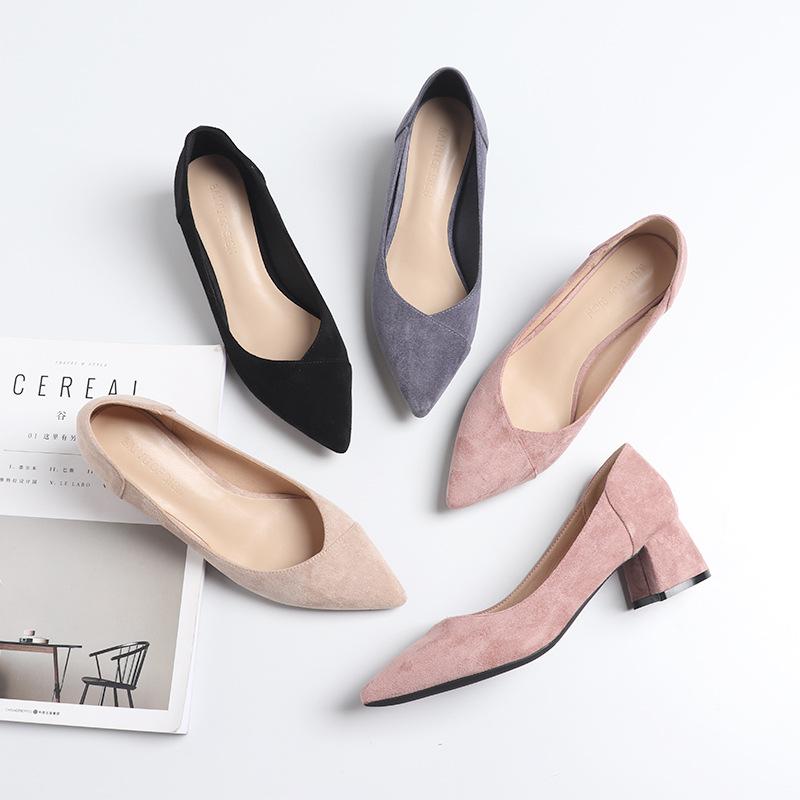 FUHAO giày vải Giày nữ mùa xuân Fu 2019 mũi nhọn dày với giày đơn Giày cao gót nữ khâu khâu thiết kế