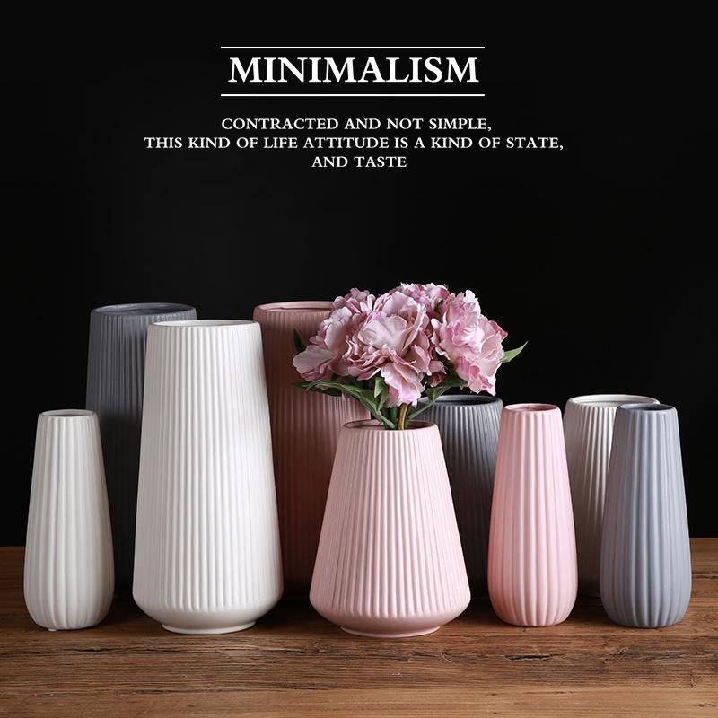 Bình bông Bán buôn sản xuất bình gốm Địa Trung Hải Bắc Âu hiện đại tối giản màu trắng bột màu xám đồ