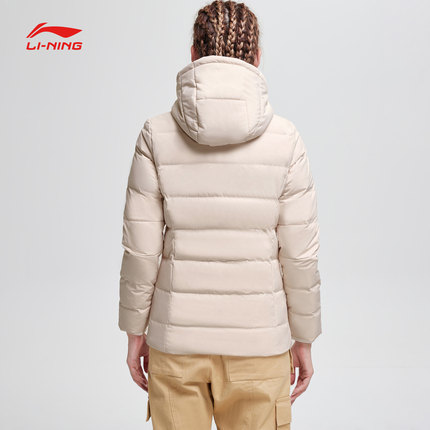 Lót nỉ Soflshell Li Ning short down jacket ladies new training series warm hooded Slim winter white