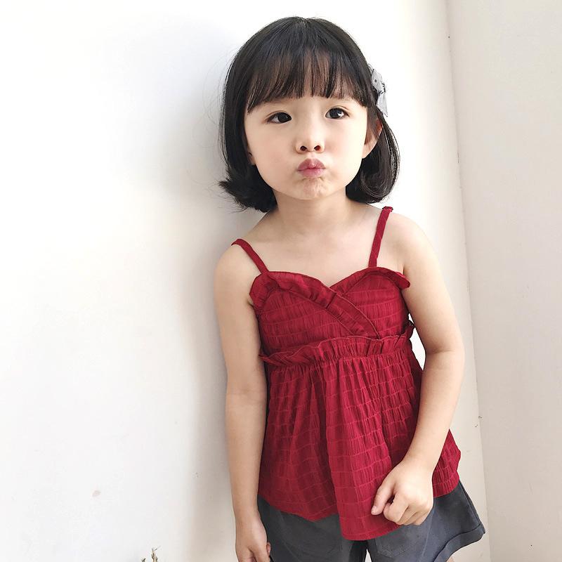 Áo ba lỗ / Áo hai dây trẻ em Mùa hè 2019 trẻ em mới mặc một thế hệ áo sơ mi nữ bằng vải voan bong bó